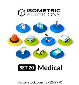 Isometric flat icons, 3D pictograms vector set 20 - Medical symbol collection