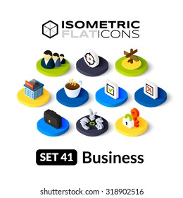 Isometric flat icons, 3D pictograms vector set 41 - Business symbol collection