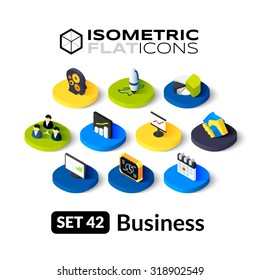 Isometric flat icons, 3D pictograms vector set 42 - Business symbol collection