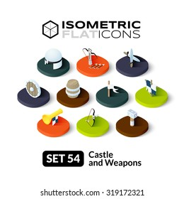 Isometric flat icons, 3D pictograms vector set 54 - Castle and weapons symbol collection