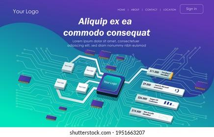 Isometric flat illustration concept. chip network