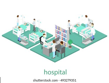 Isometric flat interior of hospital room. Doctors treating the patient. Flat 3D vector illustration