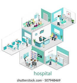 Isometric flat interior of hospital room, pharmacy, doctor's office, waiting room, reception, dentist's office. Doctors treating the patient. Flat 3D vector illustration