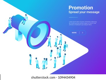 Isometric Flat Loudspeaker Megaphone with Crowd of People vector illustration. Advertisement Promo Marketing Concept ultraviolet style.