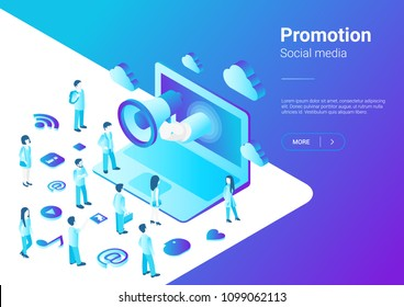 Isometric Flat Loudspeaker Megaphone from Laptop talking to Crowd of People vector illustration. Notebook Advertisement Promo Marketing Concept ultraviolet style.