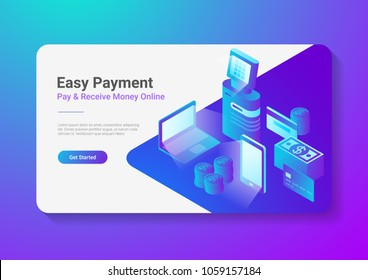 Isometric Flat Online Payment by Smartphone Laptop POS Terminal with Credit Debit Card Coins Cash Money.