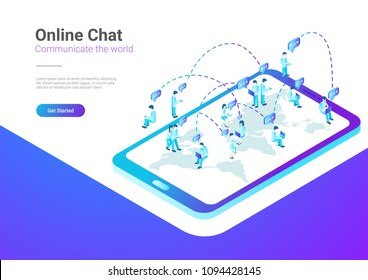 Isometric Flat  People talking worldwide social network messenger vector illustration. Teamwork crowd sitting on World Map in Mobile Phone smartphone concept.