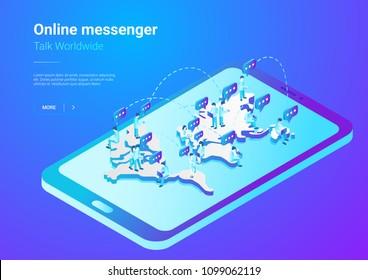 Isometric Flat  People talking worldwide social network messenger vector illustration. Men Teamwork crowd sitting on World Map in Mobile Phone smartphone concept.