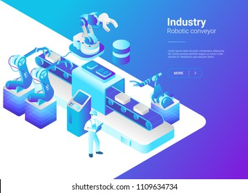 Isometric Flat Robotics Factory Conveyor vector illustration. Robot industry concept.