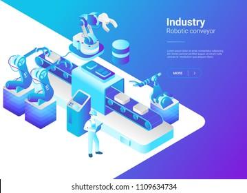 Isometric Flat Robotics Factory Conveyor vector illustration. Robot industry concept.