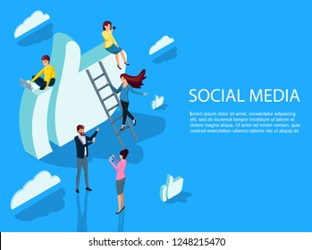 Isometric flat Social media like concept banner with icons and people with gadgets. style minimal vector illustration isolated on white background. Modern online communication