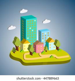 Isometric flat style city design