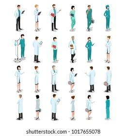 Isometric Flat style Doctors vector illustration. Medicine Pharmacy professions people.