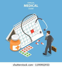 Isometric flat vector concept of annual medical exam, health checkup, medical services.
