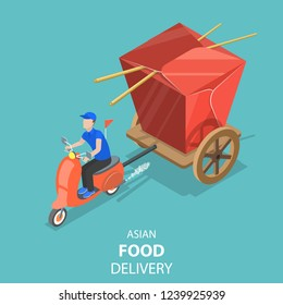 Isometric flat vector concept of asian food delivery, japanese sushi, wok noodles, chinese takeaway box.