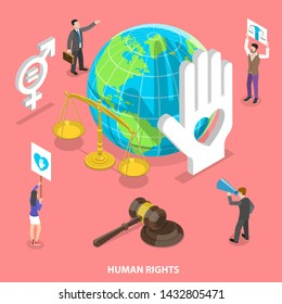 Isometric flat vector concept of civil and human rights, volunteers movement, fight against discrimination.