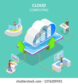 Isometric flat vector concept of cloud computing technology, data storage and hosting, big data.