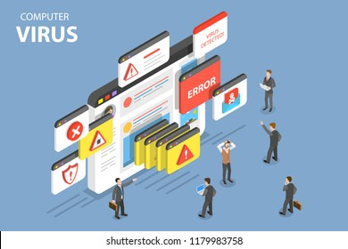 Isometric flat vector concept of computer virus, alert notification, hacking, cyber security, fraud internet error.
