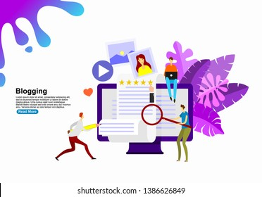Isometric flat vector concept of creative blogging, commercial blog posting, copywriting, content marketing strategy. vector- illustration