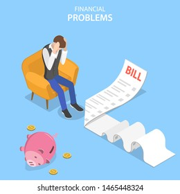 Isometric flat vector concept of financial problems, business crisis and bankruptcy, unpaid loan debt.