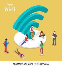 Isometric flat vector concept of free wifi, wi-fi hotspot, public access.