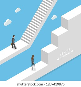 Isometric flat vector concept of gender discrimination, inequality of career and professional life.