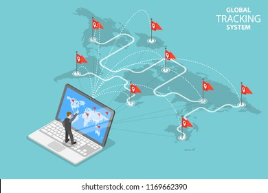 Isometric flat vector concept of global tracking system, cargo delivery, logistics network, worldwide freight shipping.