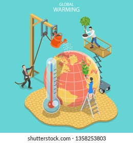 Isometric flat vector concept of global warming, climate change, natural disaster.