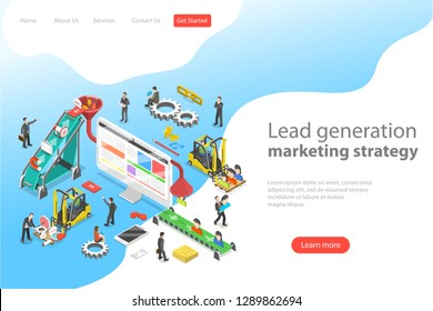 Isometric flat vector concept of lead generation strategy. Marketing process of conversion rate optimization and generating business leads.