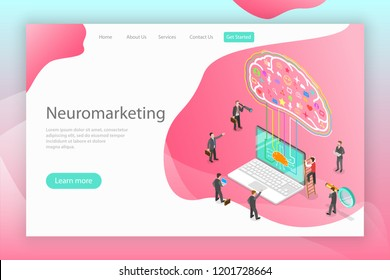 Isometric flat vector concept of neuromarketing, digital compaign, commercial marketing strategy, ai, artificial intelligence.