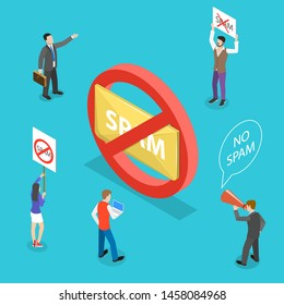 Isometric flat vector concept of no spam, warning sign.