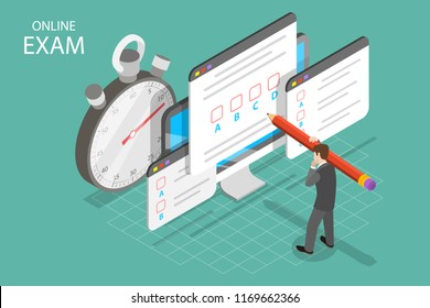Isometric flat vector concept of online exam, questionnaire form, online education, survey, internet quiz.