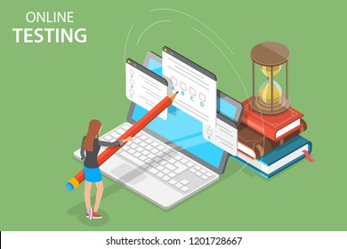 Isometric flat vector concept of online testing, questionnaire form, online education, survey, internet exam.