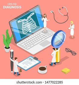 Isometric flat vector concept of online diagnosis, remote patient consultation, online medical support and healthcare services.