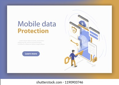Isometric flat vector concept of personal mobile data protection, anti-virus internet security.