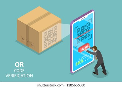 Isometric flat vector concept of QR code, barcode scanning, verification app.