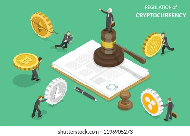 Isometric flat vector concept of regulation of cryptocurrency, digital currency legislation, legislative control.