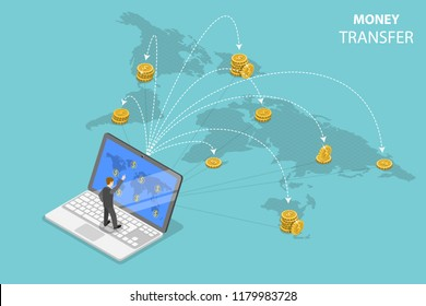 Isometric flat vector concept of sending money around the world, money transfer, online banking, financial transaction.