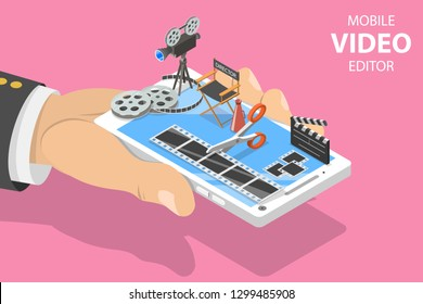 Isometric flat vector concept of video editing app, multimedia production, video blogging, motion design.