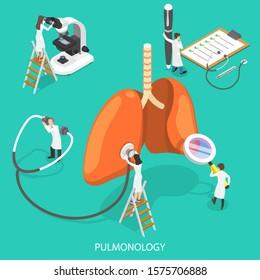 Isometric Flat Vector Illustration of Respiratory Medicine, Pulmonology Concept, Respiratory Apparatus Check, Human Ventilatory System Therapy.