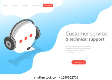 Isometric flat vector land page template of customer support service, hotline operator, client help and assistance.
