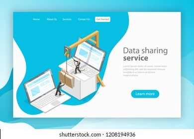 Isometric flat vector landing page template. Data sharing service, social network, information exchange, file transfer.