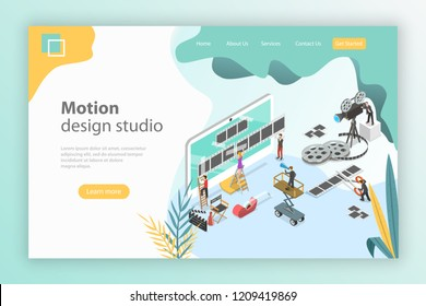 Isometric flat vector landing page template for motion design studio, video editor app, creating video online.