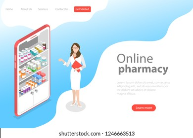 Isometric flat vector landing page template of online pharmacy, mobile app.