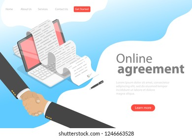 Isometric flat vector landing page template of agreement, handshake, contract signing.