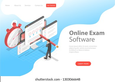 Isometric flat vector landing page header for online testing, questionnaire form, online education, survey, internet exam.