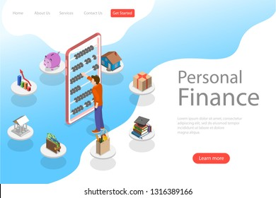 Isometric flat vector landing page template of personal home finance, budget planning, online shopping, banking and bill payment.