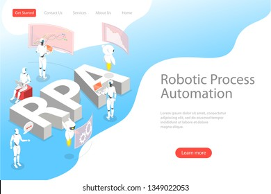 Isometric flat vector landing page template of robotic process automatisation, RPA, AI, artificial intelligence, machine learning.