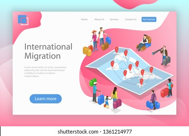 Isometric flat vector landing page template of international migration, immigration, refugee crisis.