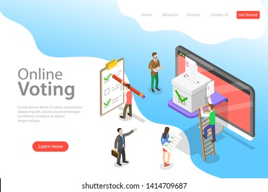 Isometric flat vector landing page template of online voting and election, e-voting internet system.